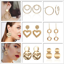 New Geometric Round Metal Drip Earrings Geometric Circle Pendant Drop Earrings for Women Unique Fashion Jewelry Gift(China)