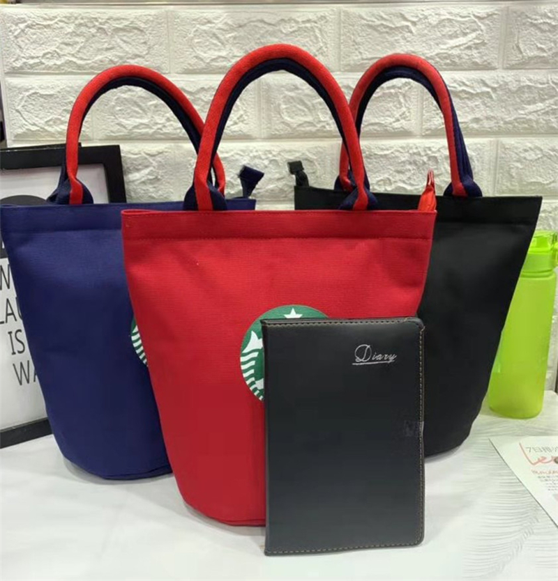 New Model Has A Water Cup As A Canvas Hand-held Drum Lunch Box Bag And A Mommy Bag Simple Lunch Bag Waterproof Men Women Studen