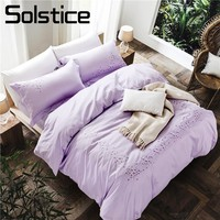 Solstice Home Textile Cotton Solid Purple Flower Embroidery Brief Couple Bedding Sets Duvet Cover Pillowcase BedSheet King Queen