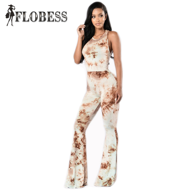 Tie Dye 2 Pieces Set for Women Sleeveless Crop Top and Printed Flare Pants Sets Off Shoulder Elastic Waist Stretchy Jumpsuits