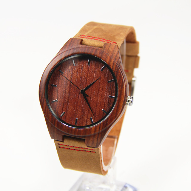 Carbonized Bamboo Wooden Watch Top Brand Luxury Women and   Men Quartz  2016 Red and Black  Color 45mm