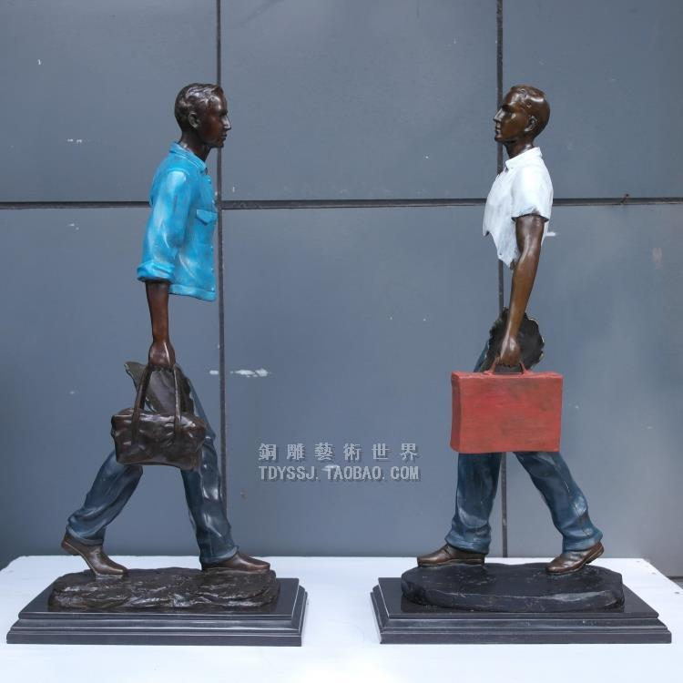 Mati Abstrak patung modern Eropa kuningan patung art traveler mode - Dekorasi rumah - Foto 1
