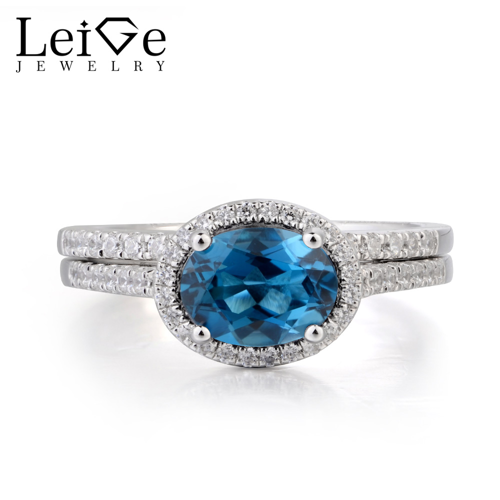 Leige Jewelry London Blue Topaz Ring Topaz Engagement Ring November Birthstone Oval Cut Blue Gemstone 925 Sterling Silver Gifts