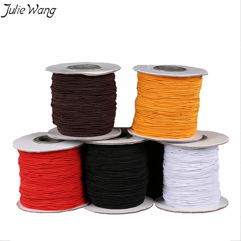 Julie Wang 5Meters Colorful <font><b>Elastic</b></font> Polyester <font><b>Cords</b></font> White Black Five Color 1mm <font><b>2mm</b></font> Optional DIY Bead Bracelet Jewelry Findings image