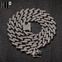 Hip Hop Bling Iced Out Crystal 15MM Cuban Paved Rhinestone Miami Zircon Mens Necklaces For Men Jewelry 16/18/20/24inch