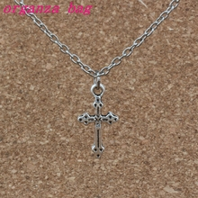 24pcs /lot Cross Charms Pendant Necklaces Ancient silver Alloy Jewelry DIY 18 inches Chains A-271d