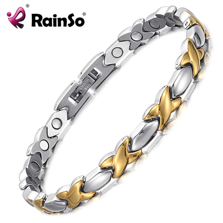 RainSo 女性ジュエリーステンレス鋼 2019 人気のチャームブレスレット磁気バイオエネルギーブレスレット最高のバレンタインデーのギフト女性のための