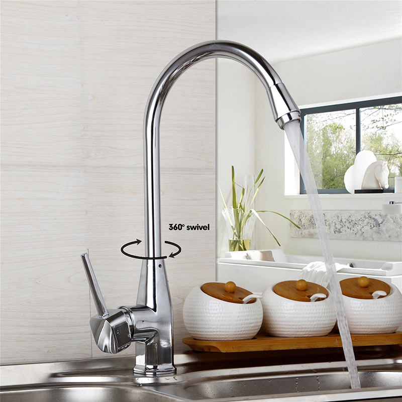 Kitchen Sink Faucet 360 Swivel Chrome Plate Deck Mounted Hot Cold Water Mixer Tap Stream Spout