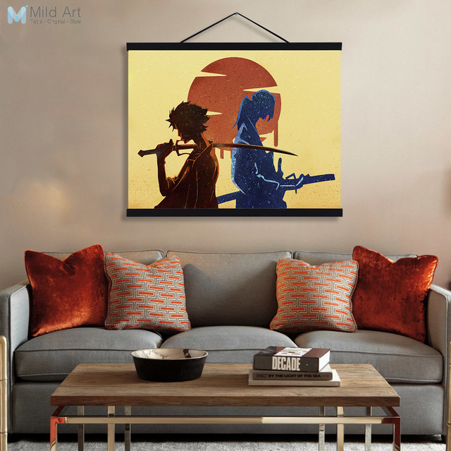 Modern Watercolor Japanese Samurai Champloo Wooden Framed Canvas