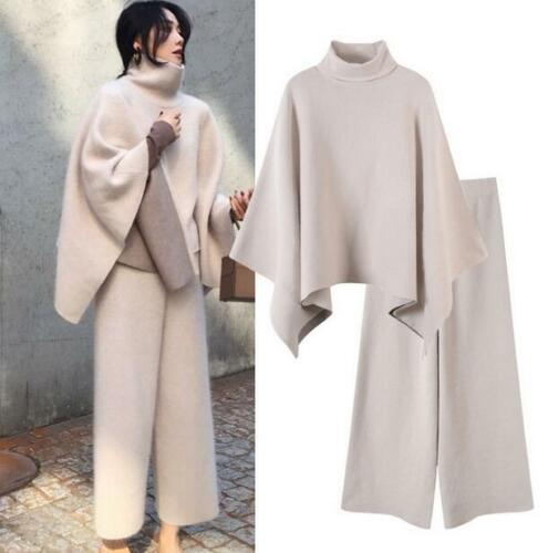 Warm Women Loose Cashmere Wool Sweater Jumper Trousers 2 Pieces Knitwear Casual Set H5