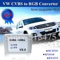 Más reciente Actualización V8.0 Aftermarket Retrovisor Cámara CVBS/AV al rgb convertidor adaptador para vw volkswagen rcd510 rns 510, rns 315