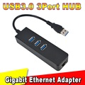 Hotest Venda 3 Portas USB 3.0 Hub 10/100/1000 Mbps Para RJ45 Gigabit Ethernet LAN Adaptador de Rede Com Fio Para Windows Mac atacado