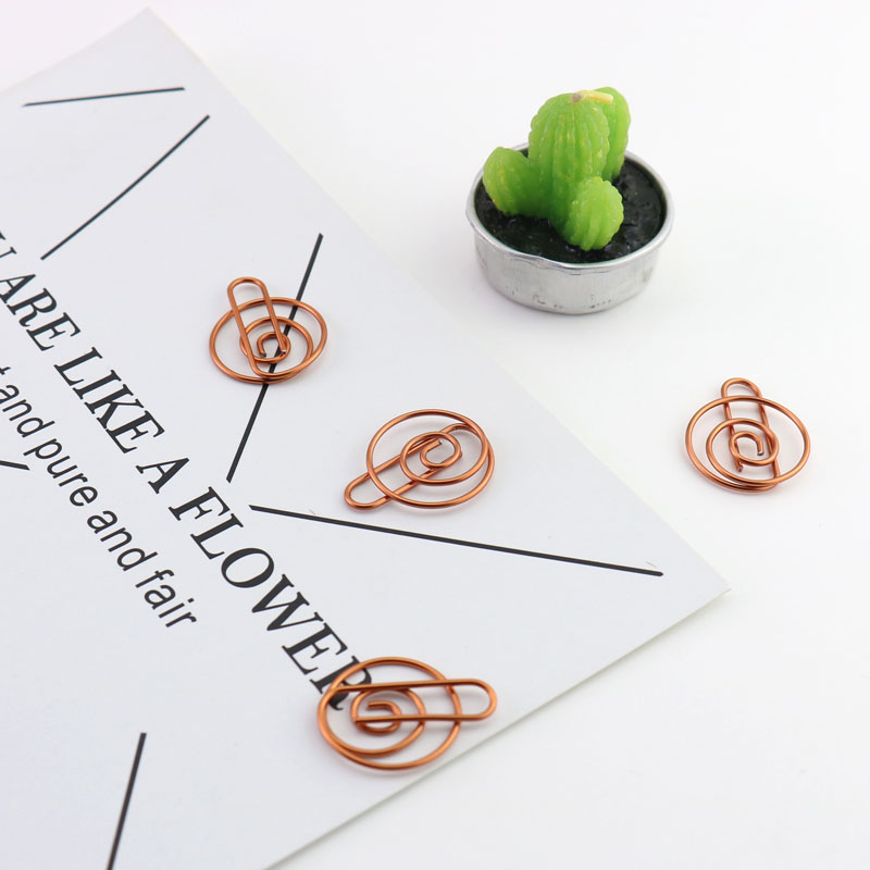 TUTU Metal Material Drop Shape Paper Clips Rose Gold Color Funny Kawaii Bookmark Office Shool Stationery Marking Clips H0136