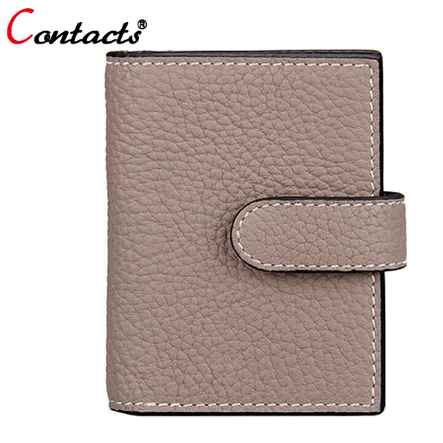CONTACT'S Genuine leather women bag card holder wallet classic female credit card case lady famous brands designer dollar price