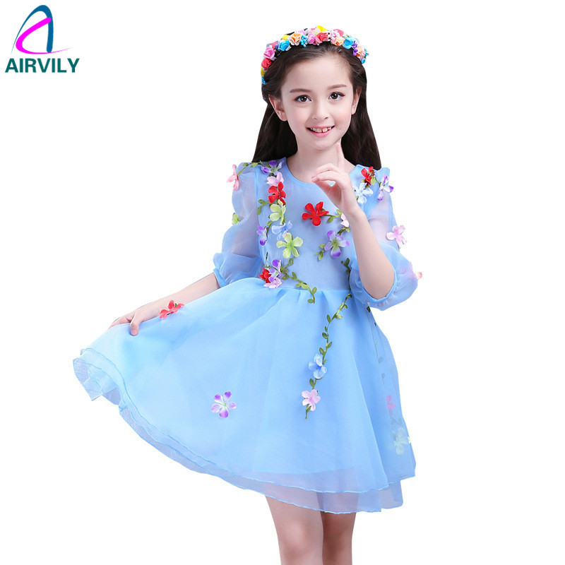 Summer Kids Girls Flowers Fairy Formal Girl Party Dress Prom Princess Bridesmaid Wedding Children Dress Infant Party Dresses