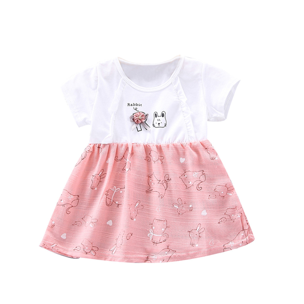 Todaies Newborn Baby Girls Dresses Fruit Striped Print Bowknot Strap Princess Casual Clothes