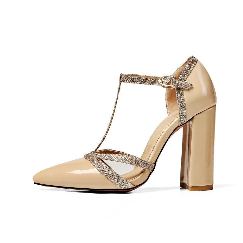 Poined Talons Chaussures jaune Femmes Mujer Beige New strap Zapatos noir De Pompes Hauts argent Toe Femme rouge T Mariage Gladiateur blanc Summer BAqwY87