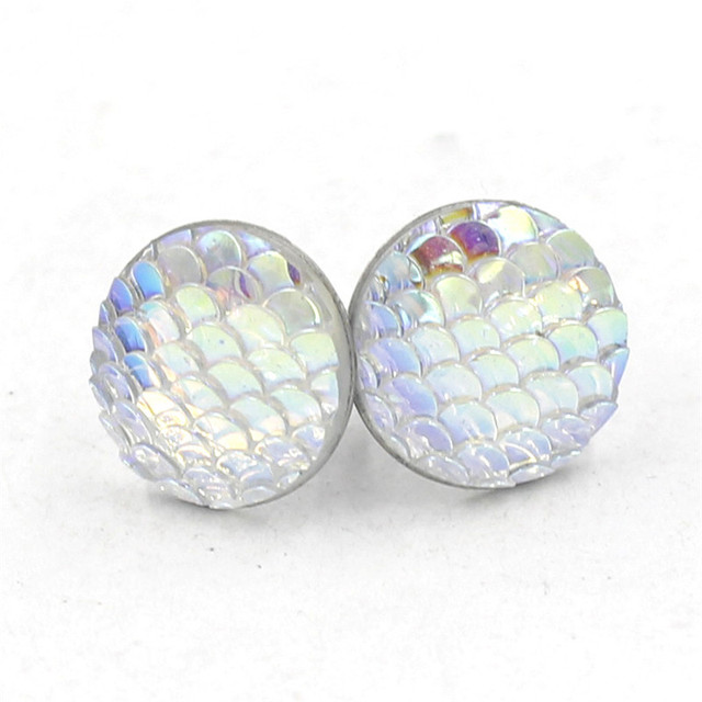 3981b9a03 Newest Colorful Stainless Steel Earring 12MM Resin Smooth Fish Dragon Scale  Stud Earrings Round For Women
