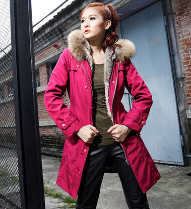 New 2015 Women Fur Hooded Wadded Thicken Parkas Winter Coat Jacket Women Cotton Padded Slim Overcoat H5540 2017 new winter women warm hooded thicken slim wadded jacket woman parkas female ladies wadded overcoat long cotton coat cxm31