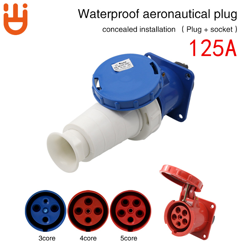 Industrial waterproof aviation plug socket connector 3-core 4-core 5-hole 125A anti-explosion dark install butt set hf huafeng connector yd48k42tp yd48j42z 42 core aviation plug connector set