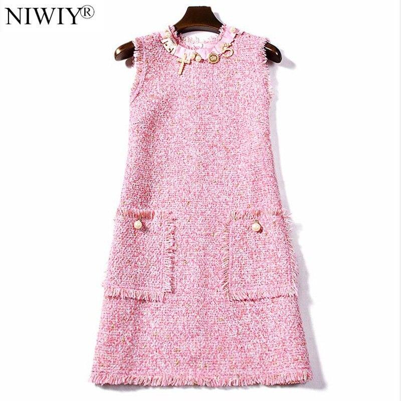 NIWIY femmes automne Tweed rose perle bureau Robe De soirée Zomerjurk Dames 2019 Midi Vintage Robe Robe Femme robes De Festa N8089