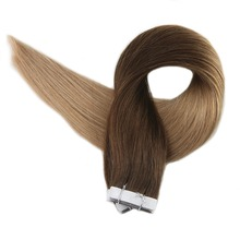 Full Shine Remy Tape in Hair Extension Ombre Color#4 Dark Brown Fading to 27 Honey Blonde Human Haar 20 Pieces 50 Grams ins