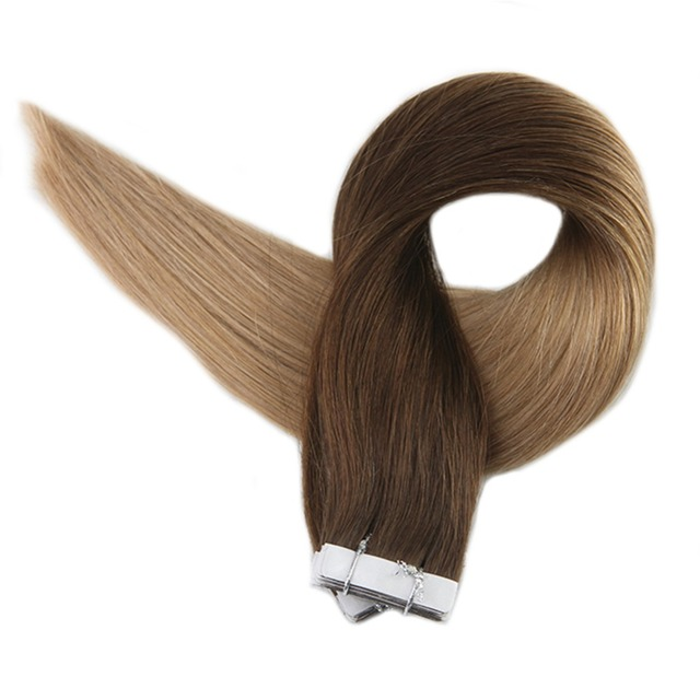 Full Shine Tape Hair Extension Ombre Color In 4 Dark Brown Fading