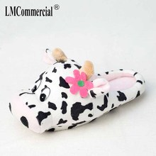 Men&Women Indoor Soft Shoes cow Slippers Winter Warm Cotton Plush Special custom Slipper Cartoon Slipper floor lovers shoes burst dog cartoon indoor slippers women men winter thicken plush warm soft slipper cute unisex cotton house shoes cover heel