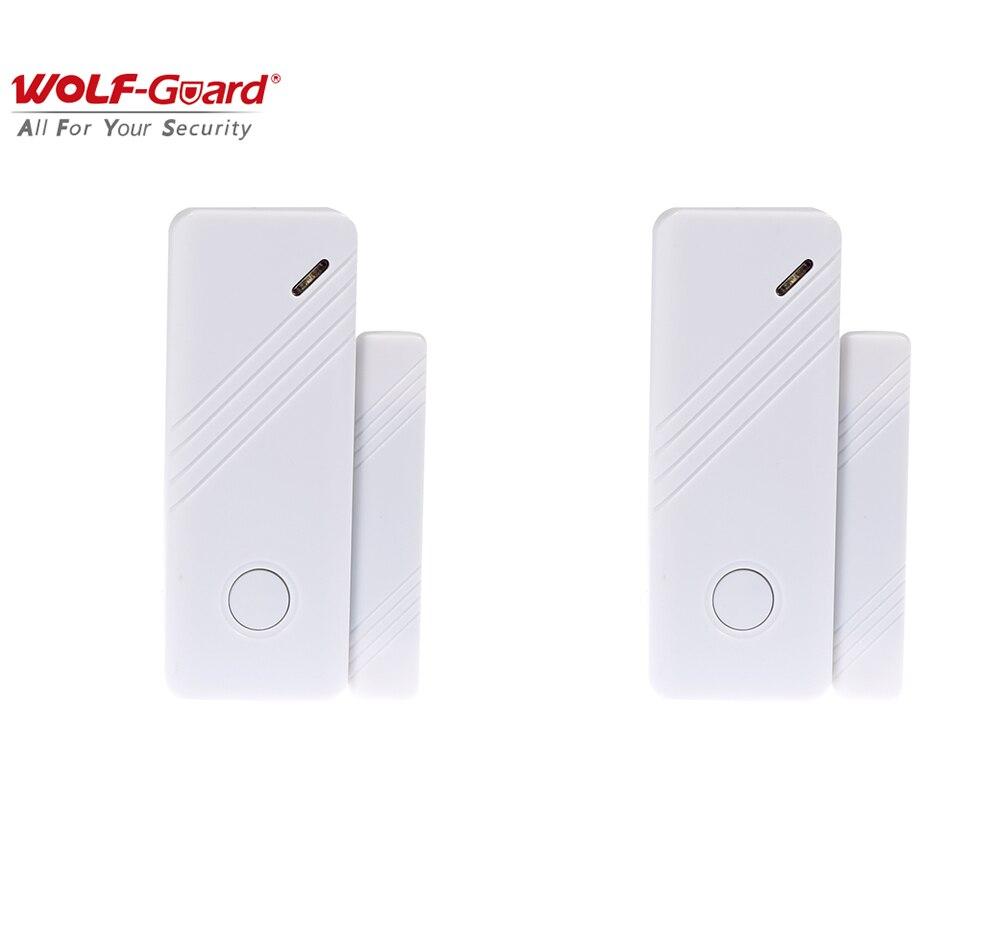 2 x Wolf-Guard Wireless Contact Door&Window Sensor 433MHZ Intelligent Gap Detector Magnet for Home Alarm Security Burlgar System