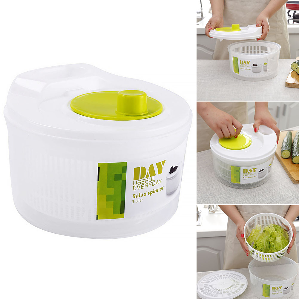 Cleaner Fruit Dryer Basin Drying Veggie Plastic Large Leaf Dryer Salad Spinner Green Draining Bowl Drain Bowl Kitchen Tool image