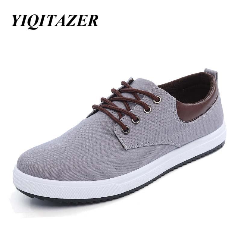 YIQITAZER 2018 nove jesenske casual platnene muške cipele, ljetna moda Čipkajte prozračne muške cipele veličine 7-9,5
