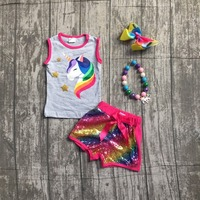 2018 New Arrivals Summer Outfit Hot Pink Unicorn Shorts Set Grey Sequins Boutique Baby Kids Wear