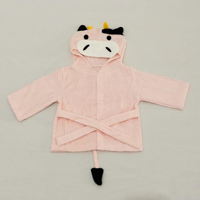 Розничная ; 16 дизайнов; детское банное полотенце с капюшоном; купальный халат с изображениями животных; детские пижамы с героями мультфильмов - Цвет: pink cow
