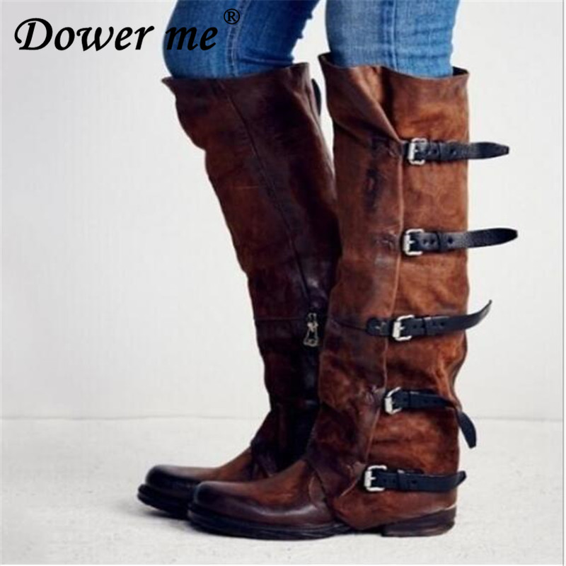 2019 New Flock Leather Women Over The Knee Boots Lace Up Sexy High Heels Women Shoes Buckle Winter Boots Warm Size 34-43 black new sexy women boots winter over the knee high boots party dress boots woman high heels snow boots women shoes large size 34 43