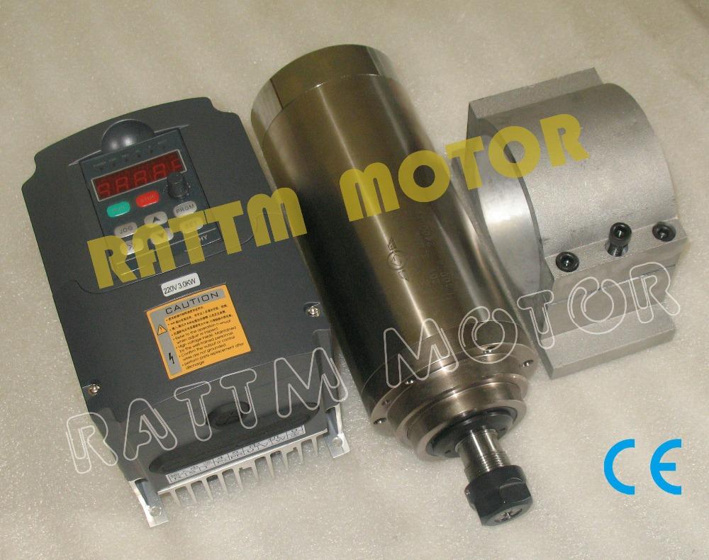 3KW Water-cooled ER20 spindle motor 220V 4 bearin...