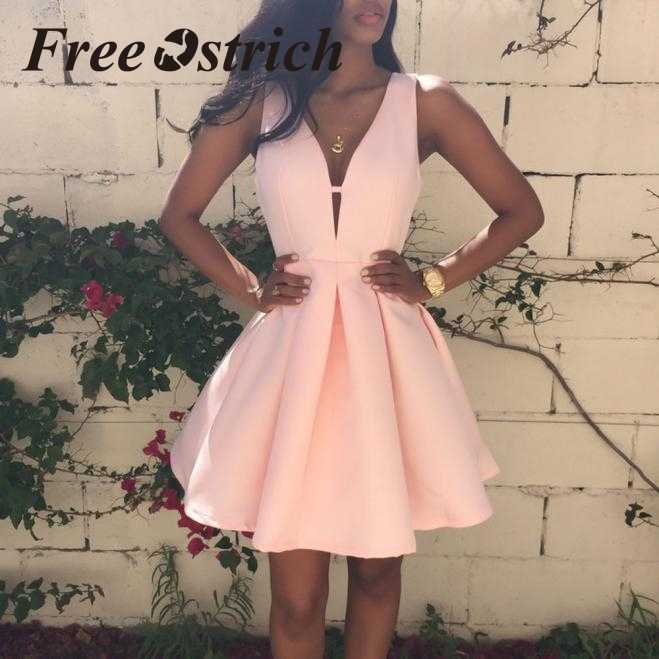 Free Ostrich 2019  Women Summer V Neck Sleeveless Cocktail Party Dress Gentle Pink Pleated Elegant Fashion Mini Dress For Women
