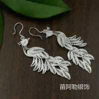 S999 sterling silver earrings Korean ladies long section tassel jewelry brushed Phoenix peacock earrings