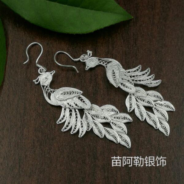 S999 sterling silver earrings Korean ladies long section tassel jewelry brushed Phoenix peacock earrings long tassel earrings