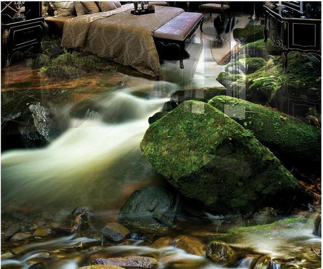 3d Floor Waterproof Custom Wallpaper Flooring Mountain Waterfall Landscape Self Adhesive