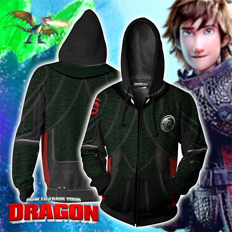 How To Train Your Dragon Hiccup 3D Print Hoodies Sweatshirts Cosplay Hooded Casual Coat Jacket