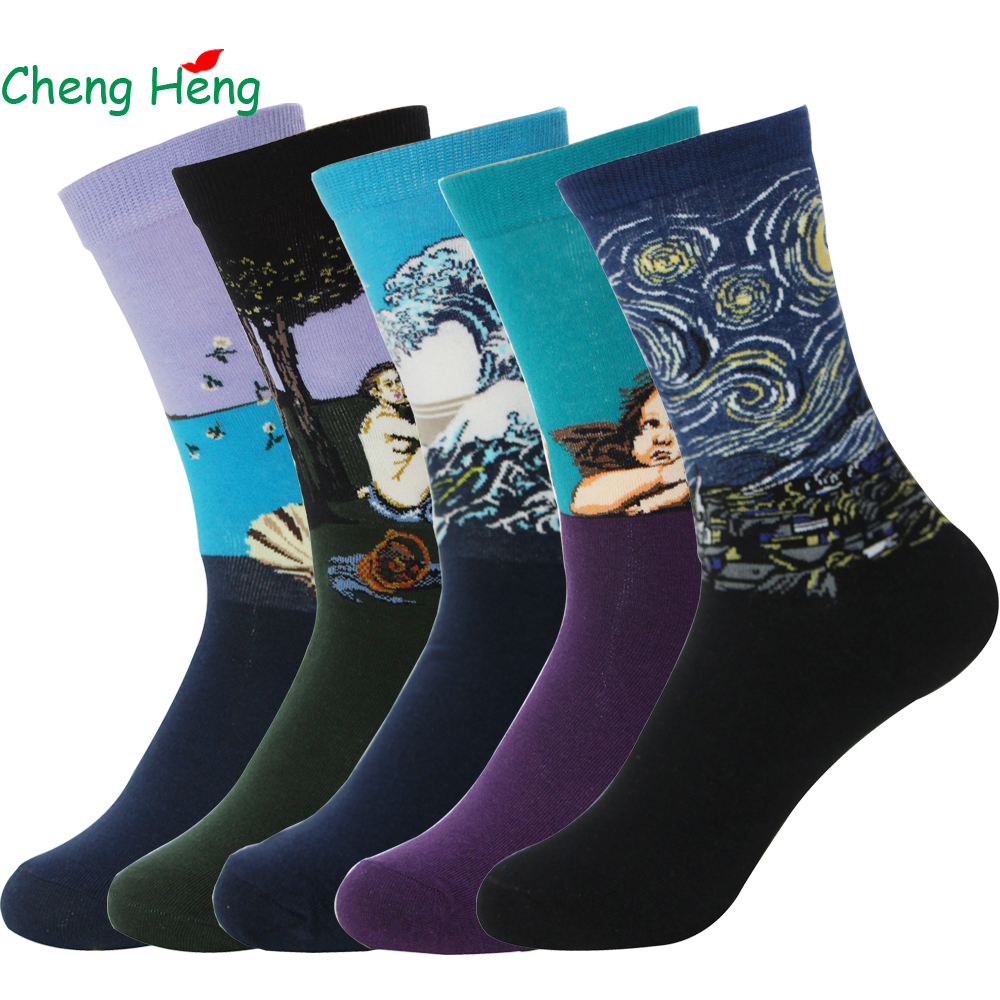 Cheng Heng 5 Pairs/Bag Summer Autumn Retro Modern Literary Revival Oil Painting Socks Fun Novelty Socks Mens Middle Tube Socks