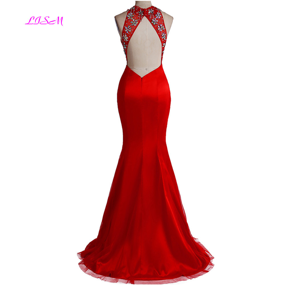 Real Photos Red Mermaid Long Evening Gowns Halter Open Back Prom Party Dresses Elegant Side Split Satin Formal Dress robe soiree