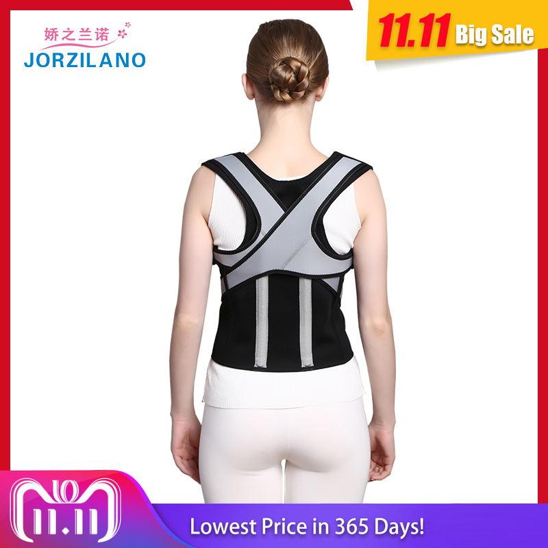 купить JORZILANO Back Posture Corrector corset Lumbar Brace Spine Support Belt Adjustable Adult Shoulder brace Belt Body Health Care онлайн
