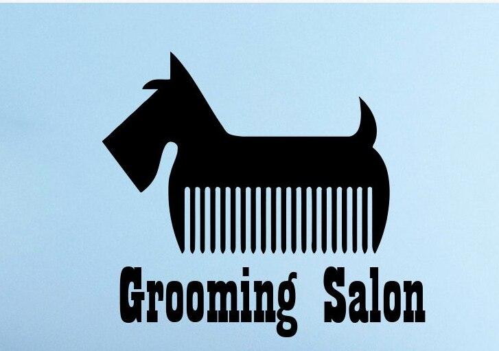 Grooming Salon Vinyl Wall Decal Dog Scissors Comb Pet Salon Mural Art Wall Sticker Pet Shop Grooming Room Wall Decoration