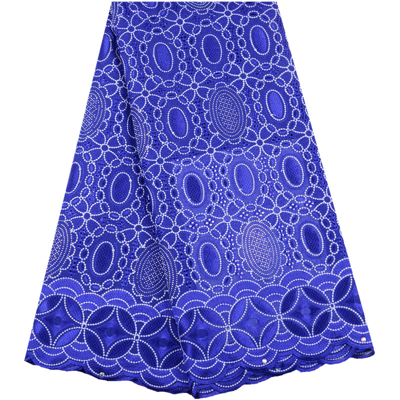 2019 Royal Blue African Dry Lace Fabrics High Quality French Cotton Lace Fabric Swiss Voile With