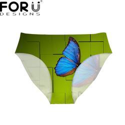 FORUDESIGNS/Синий принт бабочки ультра-тонкие женские трусики дышащие Брендовые женские нижнее белье зеленое нижнее белье бесследные трусы