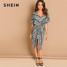 26c2d1662b SHEIN Multicolor Twist Split Front Leopard Print Dress V-Neck Sheath Autumn  Party Going Out Modern Lady Women Elegant Dresses
