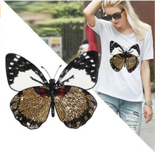 купить New Butterfly Embroidery lace applique paillette fabric sweater clothes patch stickers t-shirt diy decoration по цене 593.35 рублей