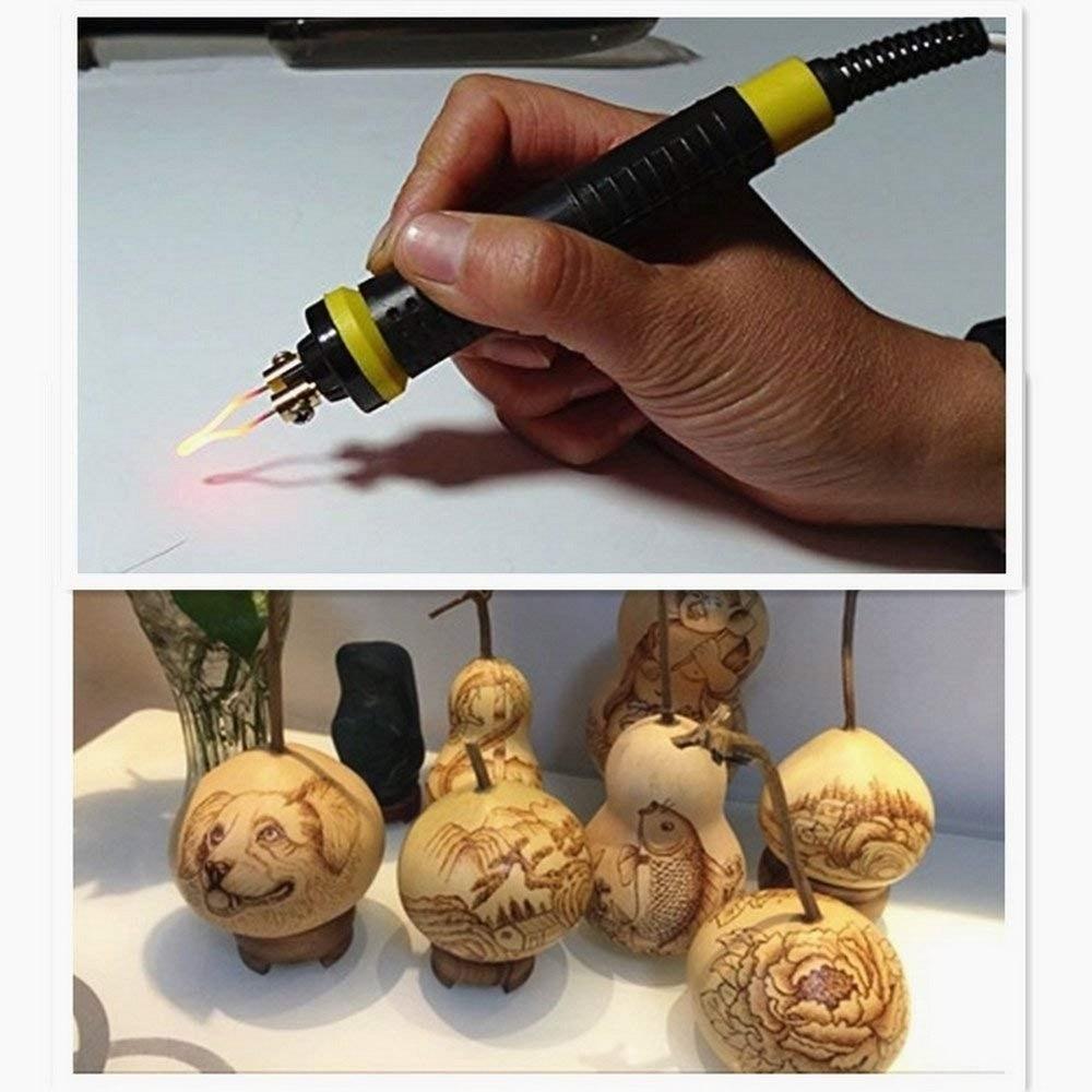 Pyrography Machine 60W Digital Display  Gourd Wood Burning Soldering Irons Pen Craft Tool Kits Pyrography Machine Kit Set 220V
