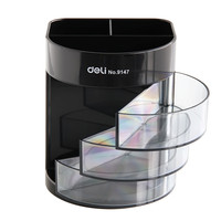 Deli 9147 Three Layers Of Transparent Small Drawer Multifunctional Office High End Desktop Storage Pen Free
